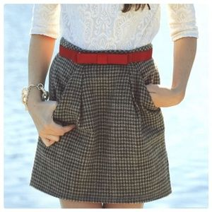 J. Crew Houndstooth Origami Wool Mini Skirt
